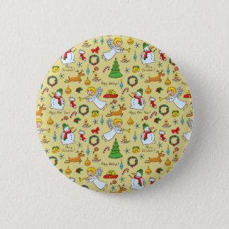 Christmas pattern 6 cm round badge