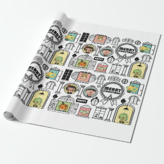 Christmas Pattern Animal Window Design Wrapping Paper