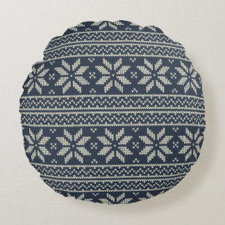 Christmas Pattern Blue Round Cushion