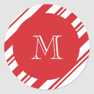 Christmas pattern monogram round sticker