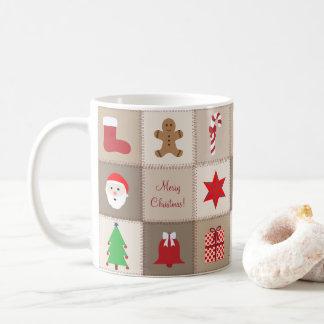 Christmas Pattern Mug - Beige Tones Background