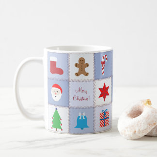 Christmas Pattern Mug - Blue Tones Background
