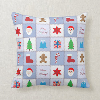 Christmas Pattern Pillow - Blue Tones Background