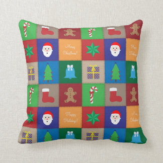 Christmas Pattern Pillow - Colourful Background