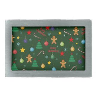 Christmas pattern rectangular belt buckles
