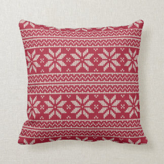 Christmas Pattern Red Cushion