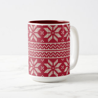 Christmas Pattern Red Two-Tone Coffee Mug