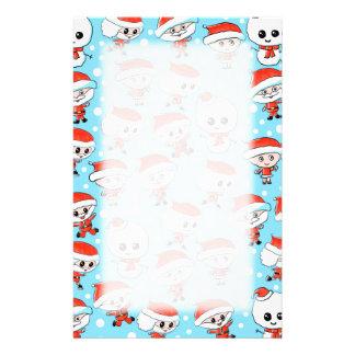 Christmas Pattern Santa and Snowman on Blue. Custom Stationery