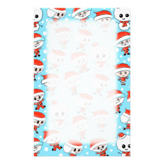 Christmas Pattern Santa and Snowman on Blue. Stationery