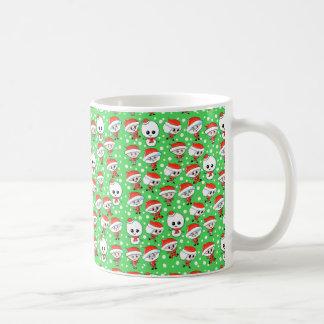 Christmas Pattern Santa and Snowman on Green Mug