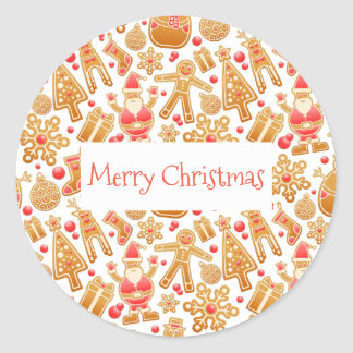 Christmas Pattern-Santa Claus Tree Rudolph Snowman Classic Round Sticker