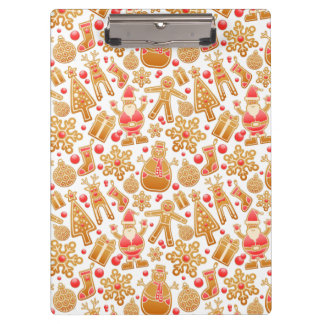 Christmas Pattern-Santa Claus Tree Rudolph Snowman Clipboard