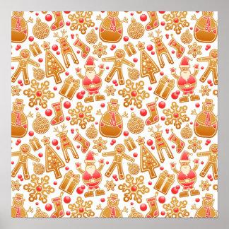 Christmas Pattern-Santa Claus Tree Rudolph Snowman Poster