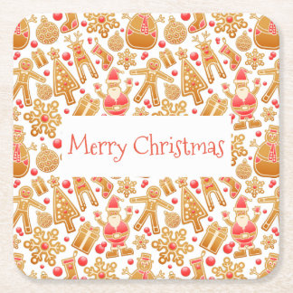 Christmas Pattern-Santa Claus Tree Rudolph Snowman Square Paper Coaster