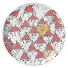 Christmas pattern with a lot of funny cats plate