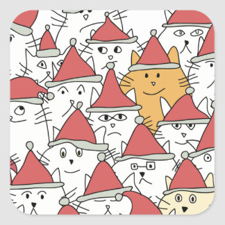 Christmas pattern with a lot of funny cats square sticker