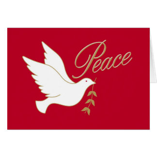 Christmas Peace Dove with Olive Branch on Red Card