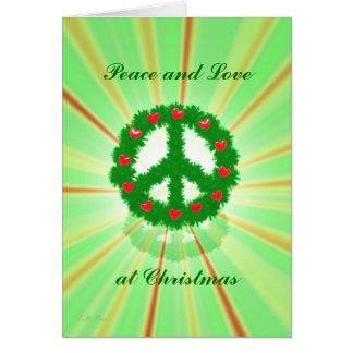 Christmas Peace Hearts Wreath Card