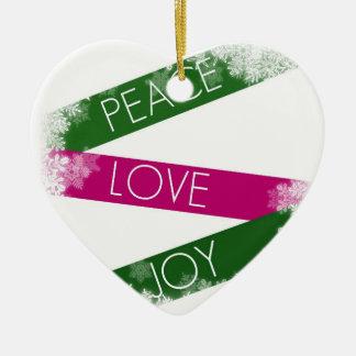 Christmas Peace, Love, Joy  Heart Ornament