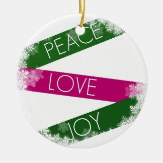 Christmas Peace, Love, Joy Snowflakes Ornament