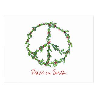 Christmas Peace Wreath, Peace on Earth Postcard