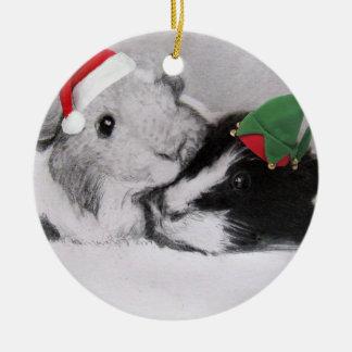 Christmas Peegs Guinea Pig Ceramic Ornament