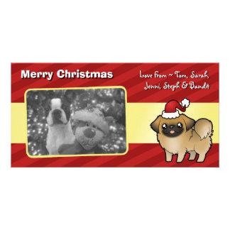 Christmas Pekingese (puppy cut) Personalised Photo Card