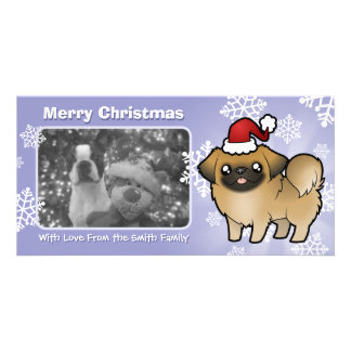 Christmas Pekingese (puppy cut) Picture Card