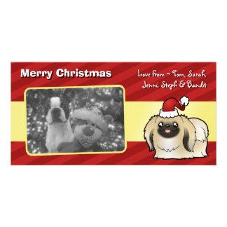 Christmas Pekingese (show cut) Custom Photo Card