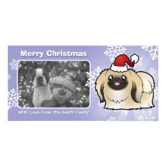 Christmas Pekingese (show cut) Photo Card