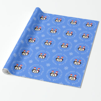 Christmas penguin family custom text blue wrapping paper