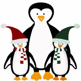Christmas Penguin Family Ornament Photo Sculpture Decoration