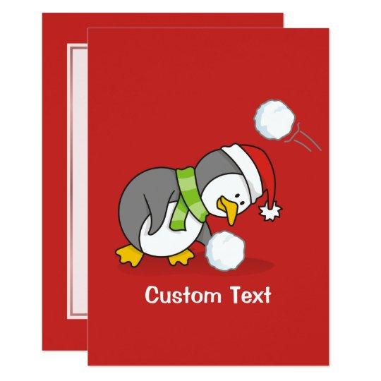 Christmas penguin getting a snow ball card