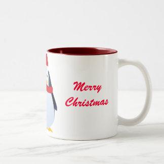 Christmas Penguin In A Santa Hat Mugs