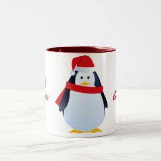 Christmas Penguin In A Santa Hat Two-Tone Mug