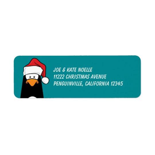 Christmas Penguin in a Santa Hat Return Address Label