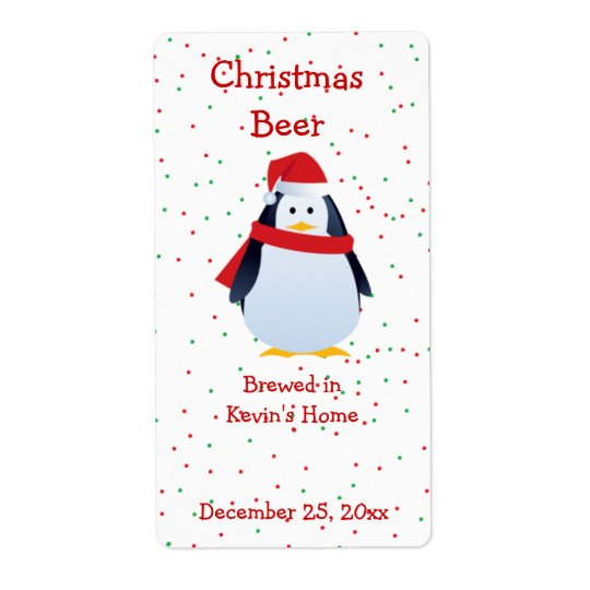 Christmas Penguin Mini Beer Label