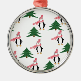 Christmas Penguin Muffin Metal Ornament