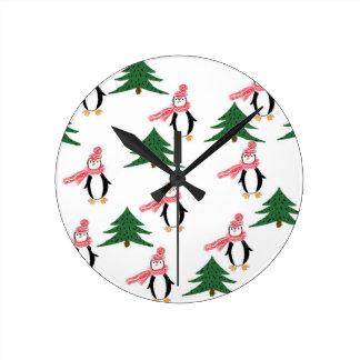 Christmas Penguin Muffin Round Clock