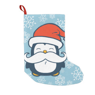 Christmas Penguin Mustache Trend Small Christmas Stocking