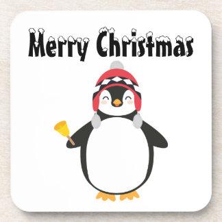 Christmas Penguin Plastic coasters  - set of 6