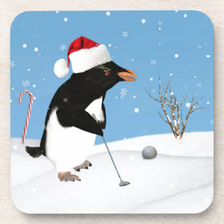 Christmas, Penguin Playing Golf Beverage Coasters