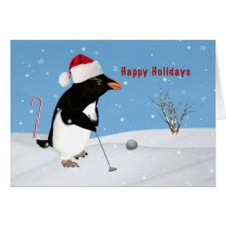 Christmas, Penguin Playing Golf Card