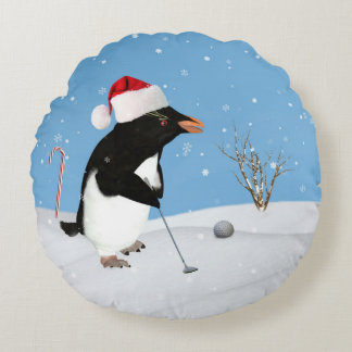 Christmas, Penguin Playing Golf Round Pillow