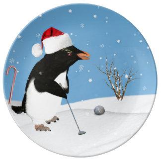 Christmas Penguin Playing Golf Porcelain Plates