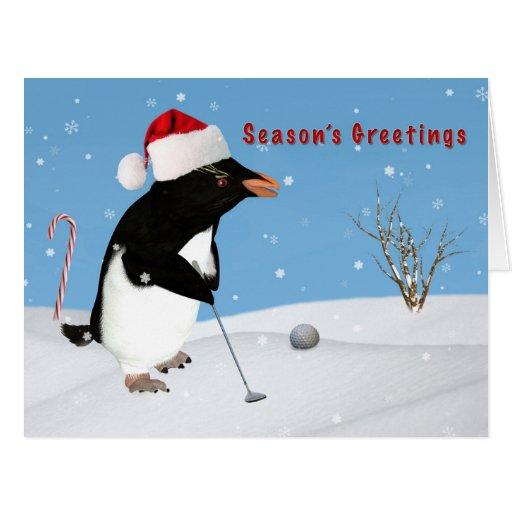 Christmas, Penguin Playing Golf, Season's Greeting Greeting Cards