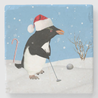 Christmas, Penguin Playing Golf Stone Beverage Coaster