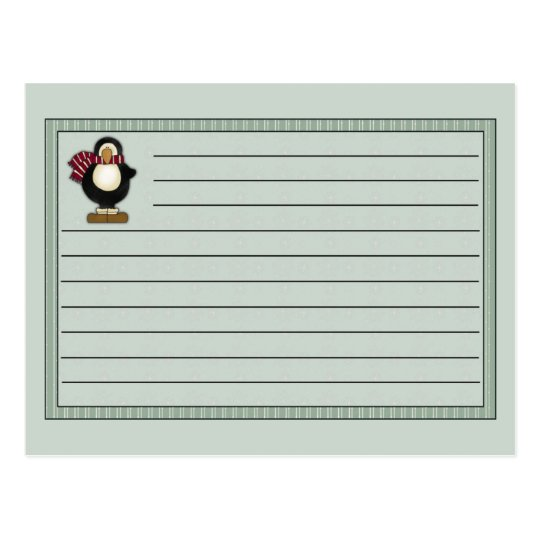 Christmas Penguin Recipe Notecard Postcard