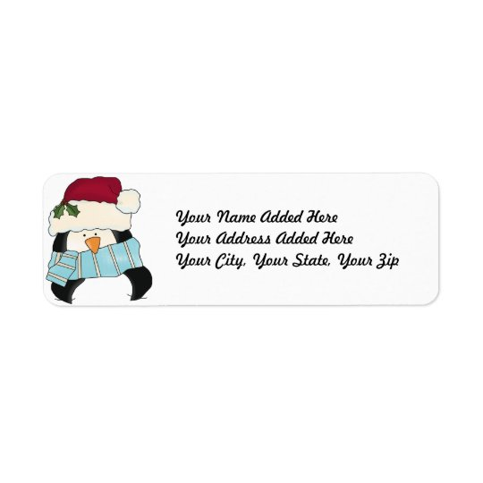 Christmas Penguin Return Address Labels