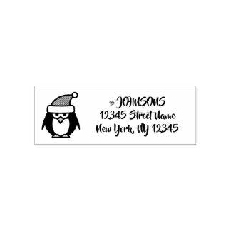 Christmas penguin self inking return address stamp